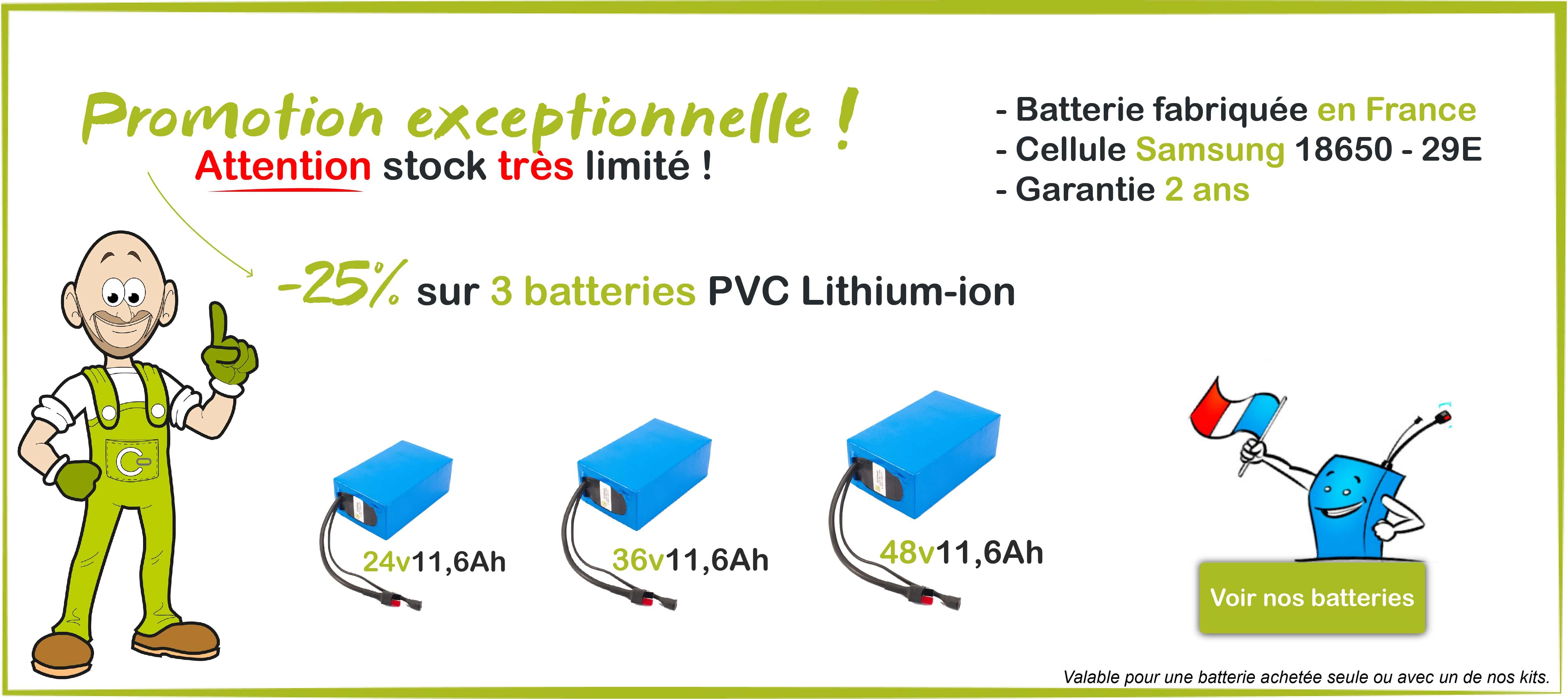 25% de remise sur 3 batteries PVC Lithium-ion