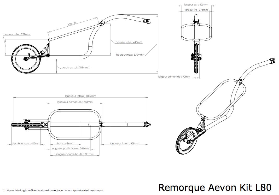 Dimensions de la remorque Kit L80
