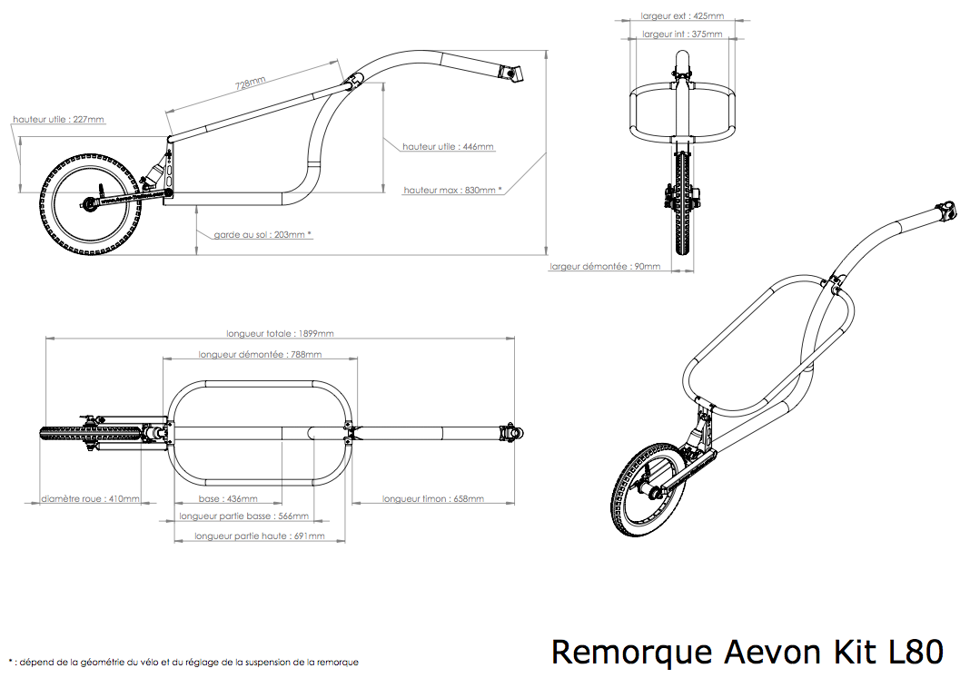 Dimensions de la remorque monoroue Kit L80