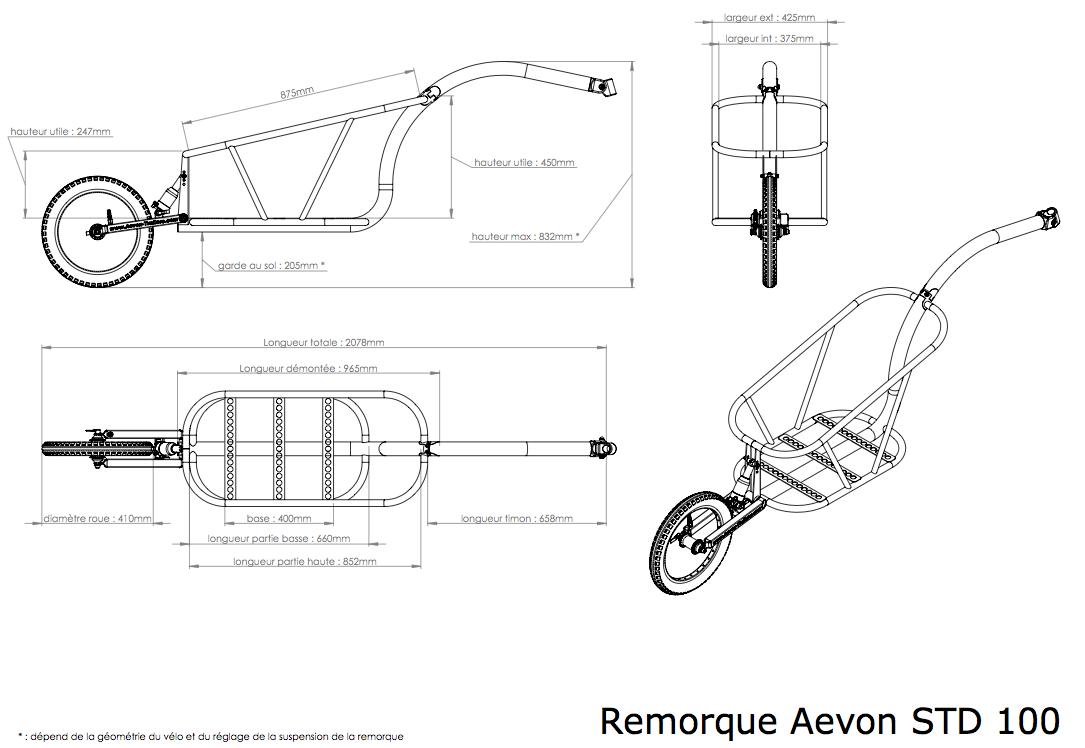 Dimensions de la remorque à vélo STD 100