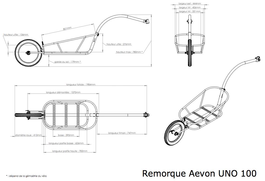 Dimensions de la remorque vélo UNO 100