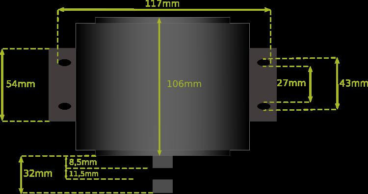 Dimension fixation moteur BLT 500
