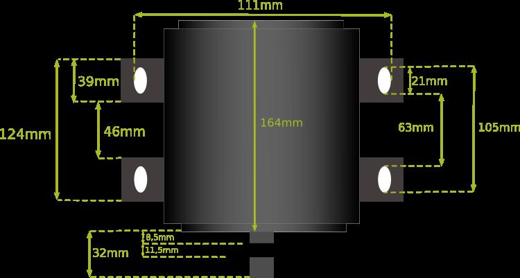Dimension fixation moteur BLT 800